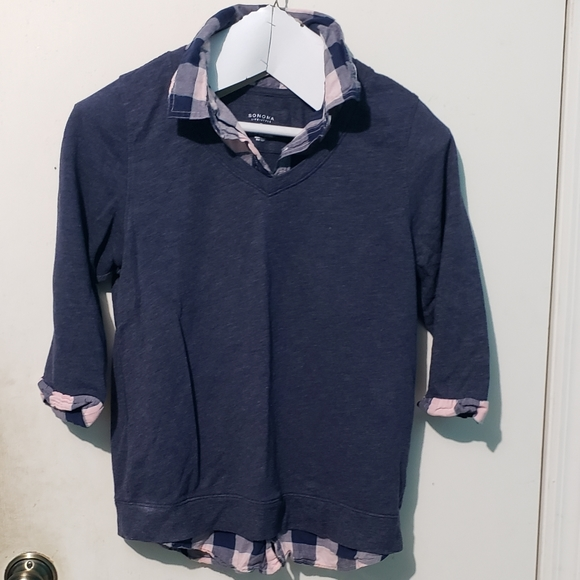Plaid faux button down sweater top- Small